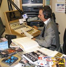 "Stephen K. Peeples hosting a segment of ""Beatles Etc."" on KHTS-AM 1220/Santa Clarita in summer 2004. Photo: Scot L. Peeples."