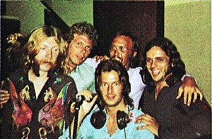 "Pictured during the ""Layla"" sessions: Duane Allman, Jim Gordon, Eric Clapton, Carl Radle and Bobby Whitlock."
