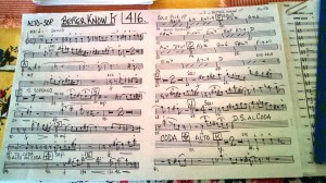 Stewart 'Dirk' Fischer's hand-written chart for 'Better Know It,' for alto and soprano sax. Photo: Stephen K. Peeples.
