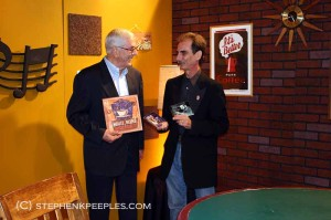 Dirk Fischer and Stephen K. Peeples on the 'House Blend' set at SCVTV in Newhall, Calif., May 31, 2011.