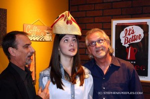 Stephen, Sara and Snuffy on 'House Blend' set, Feb. 25, 2013.
