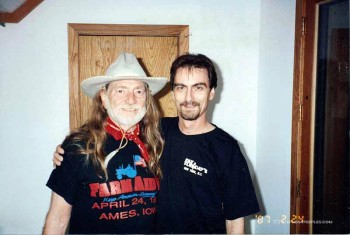 Willie Nelson and Stephen K. Peeples at Arlyn Studios, Austin, spring 1994.