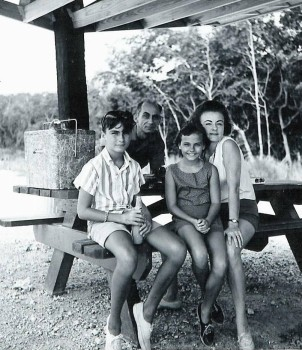 Stephen, Bill, Ruth and Joan Peeples, Florida Keys, summer 1964.