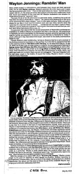 Waylon Jennings: Ramblin' Man, Cash Box, July 12, 1975