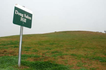 Doug Sahm Hill sign, leading to the highest elevation in Austin
