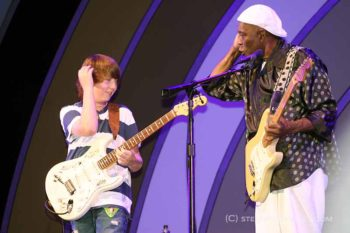Quinn Sullivan cops a Buddy Guy move at the Playboy Jazz Festival, Hollywood Bowl, June 12, 2011. Photo by Stephen K. Peeples.