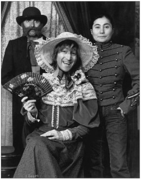 The first photo image in 'Lennonology' - John & Yoko dressed in drag, Courtesy Open Your Books LLC.