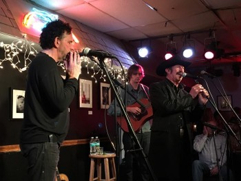 Mickey Raphael, Joe Cirotti and Kinky Friedman hold forth at the Bluebird Cafe in Nashville on Friedman's fall 2015 tour supporting 'The Loneliest Man I Ever Met.""