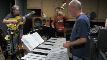 Rod Bennett (right) recording with Jim Hagen (left) and Roger Brooks, Busy Bee Studios, April 2016.