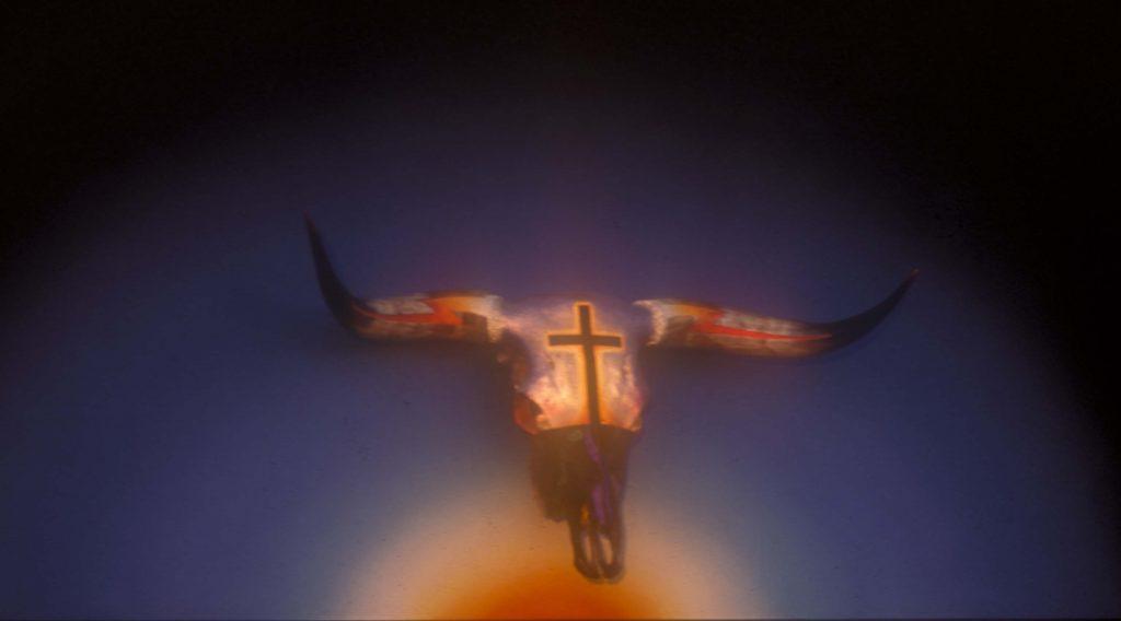 """""""Murderer"""" painted and adorned bull skull on canvas by Texas artist Boyd Elder."""