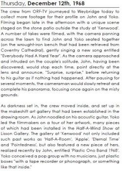 Lennonology entry for Nov. 12, 1968. Courtesy Open Your Books LLC.