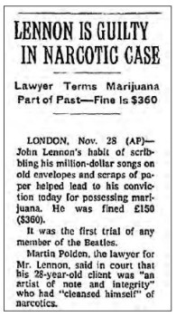Lennonology - John Lennon pot conviction news brief, Nov. 28, 1968. Courtesy Open Your Books LLC.