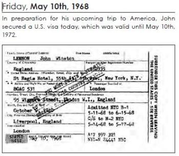 Lennonology - John Lennon's 1968 U.S. visa.