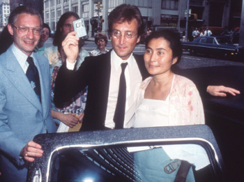 Green card day: Leon Wildes, John Lennon and Yoko Ono, New York City, July 27, 1976.