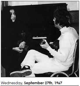 Yoko Ono and John Lennon, Sept. 27, 1967. Courtesy Open Your Books LLC.