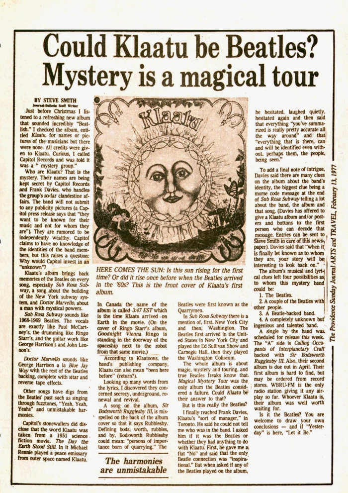 klaatu interview beatles story