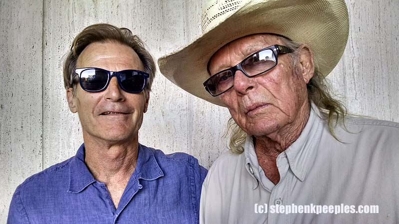 Joe Nick Patoski and Boyd Elder at 'Armadillo Rising' event at the Wittliff in San Marcos, Texas, April 2015.