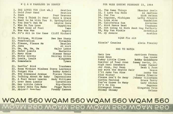 WQAM survey Feb. 15, 1964