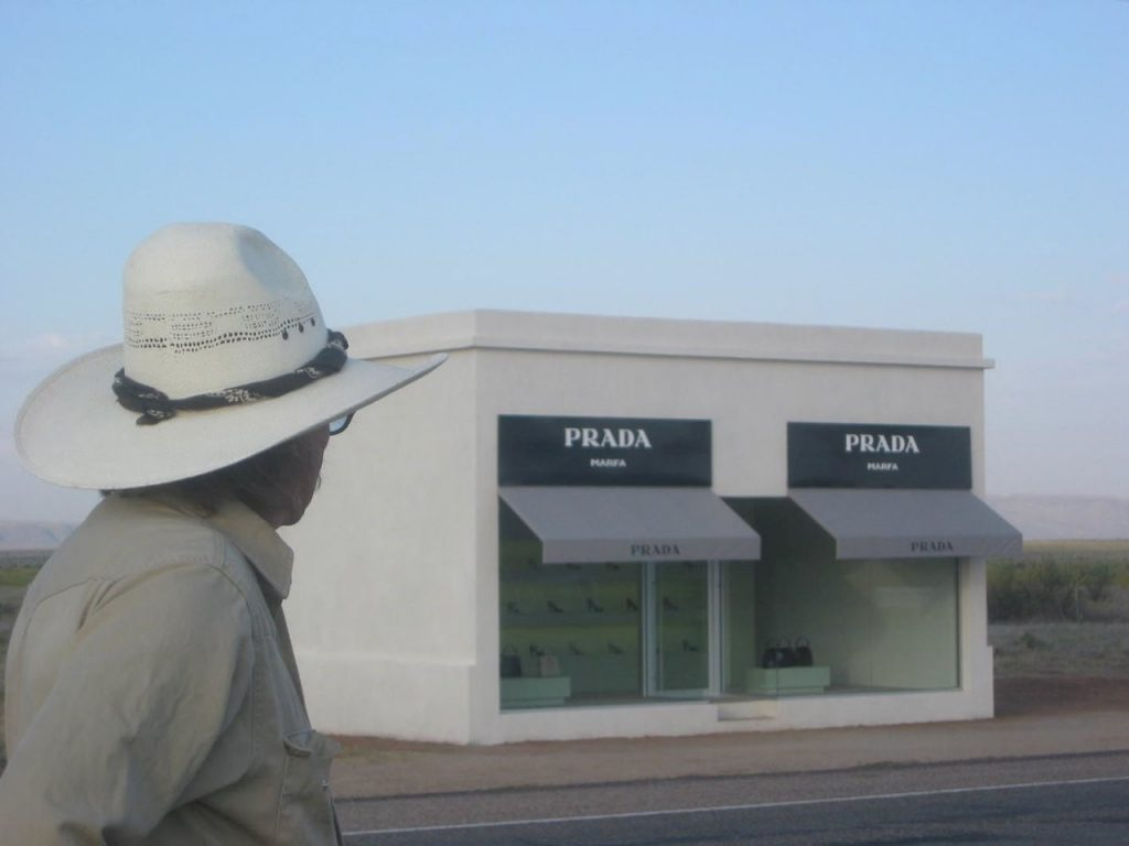 Boyd Elder keeps a hawkeye on the Prada installation outside Valentine, Texas.
