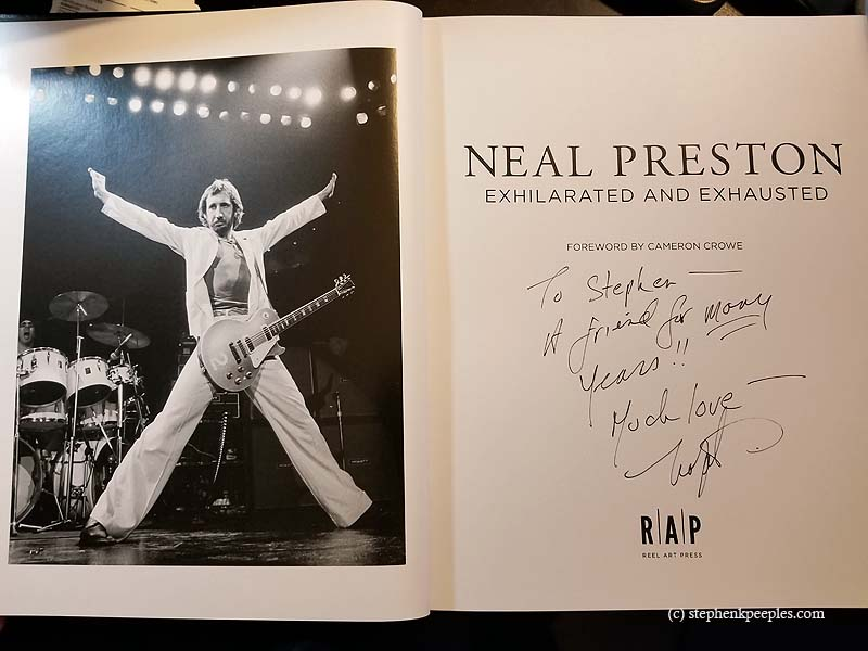 """Photo of Pete Townshend of The Who is opposite the title page of rock photographer Neal Preston's """"Exhilarated and Exhausted."""" Photo: Stephen K. Peeples."""