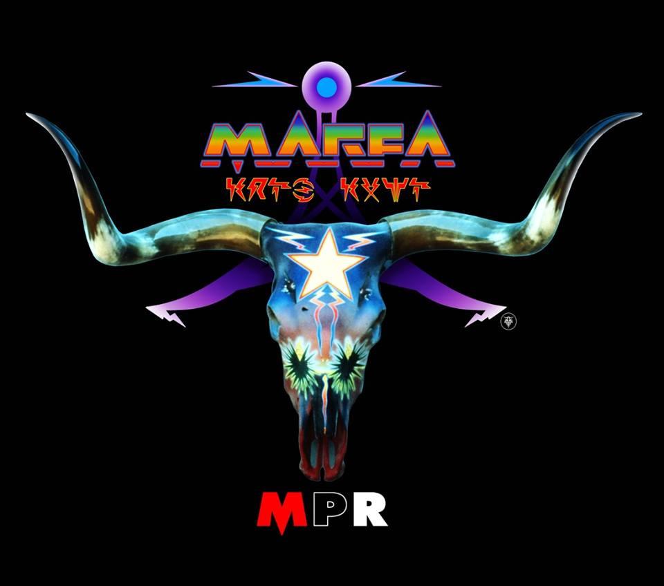 Marfa Public Radio t-shirt designed by Boyd Elder, 2018.
