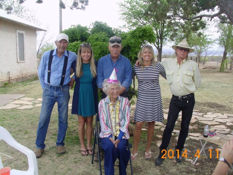 Mack, Flaunn, Howard, Shaula and Boyd Elder celebrating Billye's 93rd birthday, April 2014.