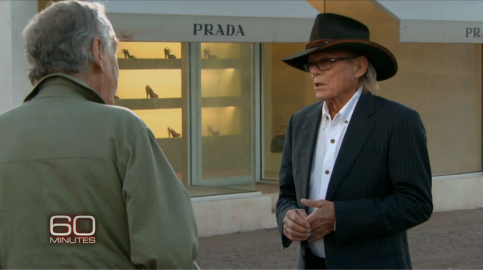 Boyd Elder talks with Morley Safer about Prada Marfa for a segment that aired April 12, 2013.