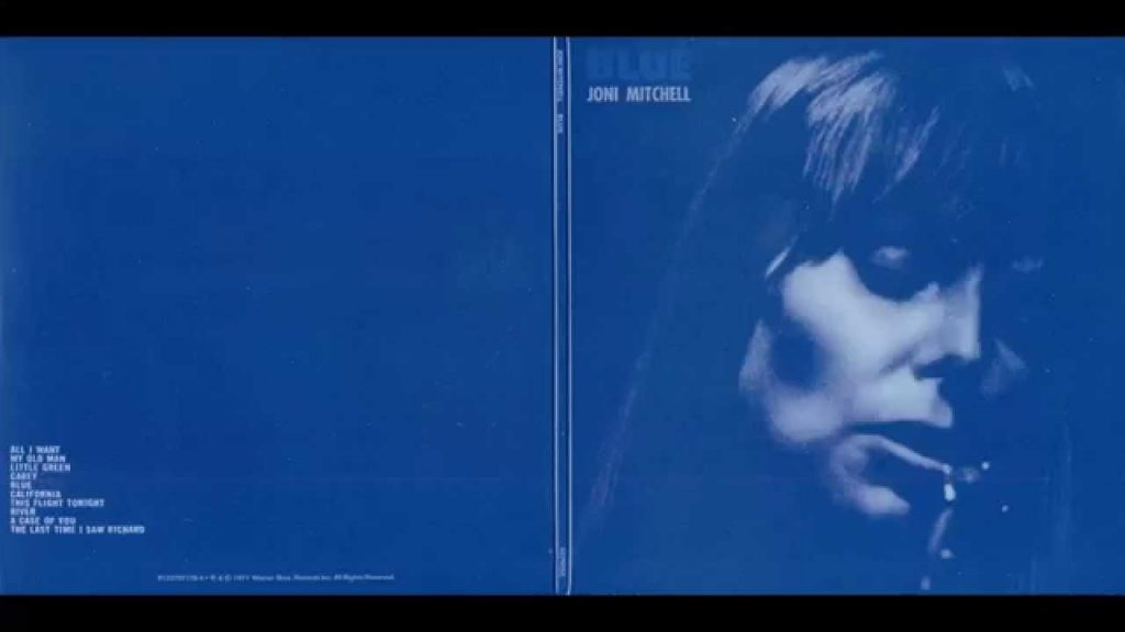 "Joni Mitchell's ""Blue"" album, 1971. Art direction by Gary Burden."