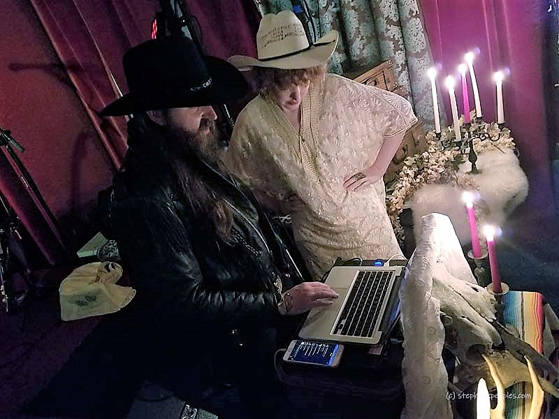 "DJs Two Steps from Stardom and Cowboy Casey at the ""Some May Never Live, But the Crazy Never Die"" party for Boyd Elder, Justine's, Austin, Feb. 5, 2019. Photo: Stephen K. Peeples."