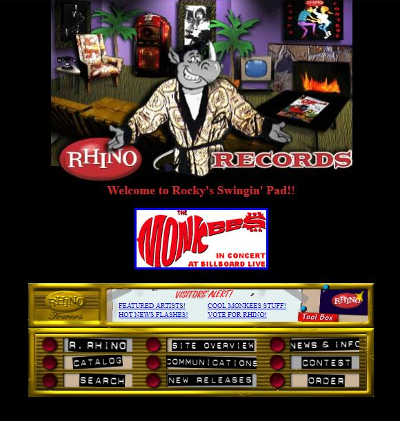 The Rhino.com home page in December 1996.