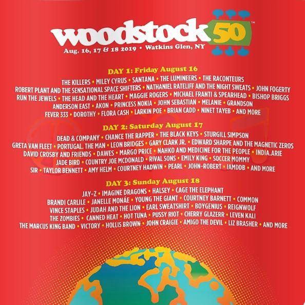 Woodstock 50 lineup poster