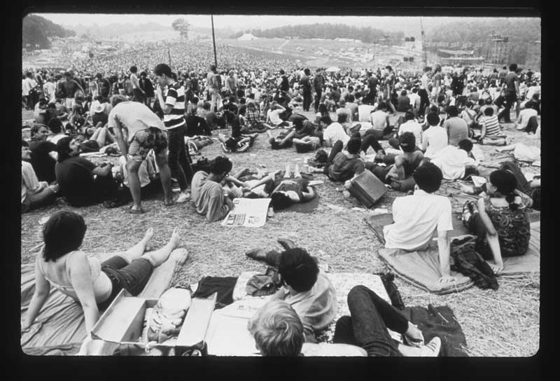 Woodstock, looking from the rear of the crowd toward the stage, Aug. 15, 1969. Photo: Henry Diltz. Used with permission.