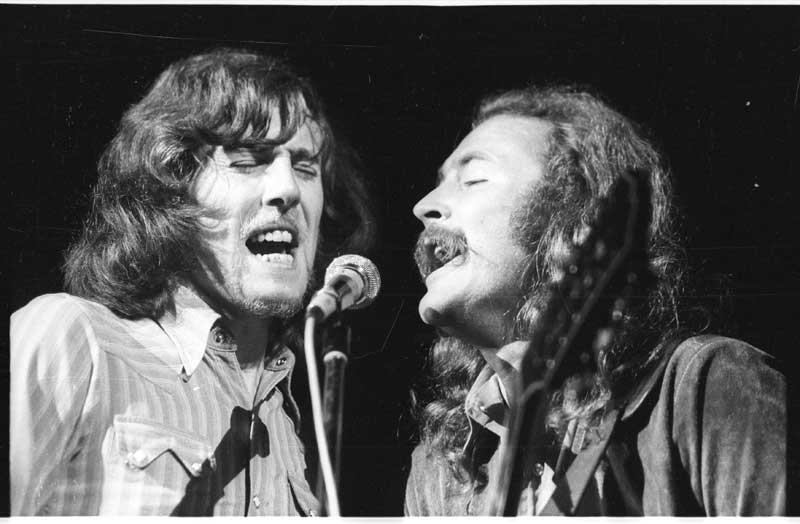 Graham Nash and David Crosby of Crosby, Stills & Nash at Woodstock, Aug. 17, 1969. Photo: Henry Diltz. Used with permission.