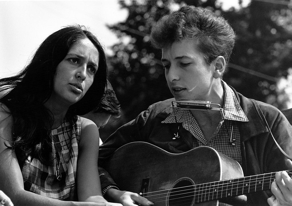"""Joan Baez and Bob Dylan performed at the civil rights """"March on Washington for Jobs and Freedom"""" on August 28, 1963. Photo"""": Rowland Scherman - U.S. National Archives and Records."""